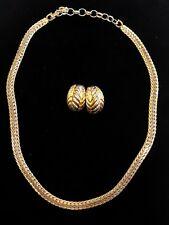 Vintage Christian Dior Signed Enamel Necklace & Post Earrings Set