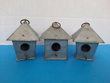 "3 Small Size 4"" Tall Galvanized Bird Houses Primitive Farmhouse Crafts"