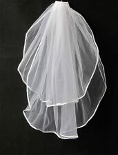 44v 2t White Tulle Satin Edged Bridal Wedding Veil w Comb