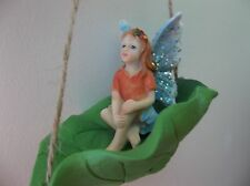 Fairy Garden Miniatures - Swinging Leaf With A Beautiful Fairy