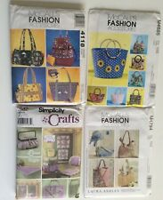 Lot of 4 Fashion Accessories Handbags Laura Ashley McCalls Simplicity Crafts