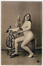 Nude WOMAN W SPINNING WHEEL/NUDE SIGNORA m filo * VINTAGE 1910s French PC