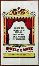 D'oyly Carte, Saddlers Wells Theatre Programme 1971 - 1972