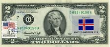 $2 DOLLARS 1976 STAMP CANCEL FLAG OF ICELAND LUCKY MONEY VALUE $123.20