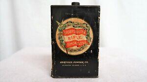 Antique HERCULES Sharpshooter Smokeless Black Powder Advertising Tin Winchester
