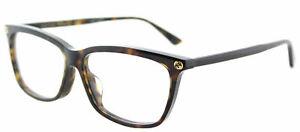 Gucci GG0042OA 002 Asian Fit Havana Plastic Cat-Eye Eyeglasses 55mm