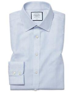 NEW - Charles Tyrwhitt - Non Iron Dash Weave Classic Fit Shirt - Blue