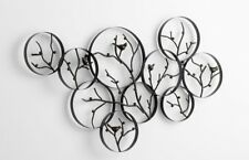 Cyan Metal Birds On A Branch Wall Art Decor Wall Sculpture with Bronze Finish