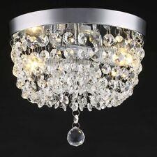 Crystal Flush Mount Light Fixture Modern Chandelier Ceiling Chrome Clear 2 New