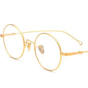 Pure Titanium Man Woman Round Vintage Eyeglass Frames RX Glasses 48-23-142