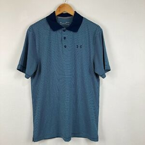 Mens Polo Shirt Size M Medium Blue Striped Short Sleeve Collared