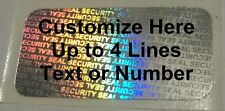 100 SS Customized Security Seal Hologram Tamper Proof Security Label Stickers