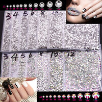 SS3-SS20 Crystal Clear AB Flatback Rhinestone Non Hotfix Nail Art Decoration DIY