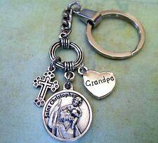 Grandpa Keychain, St. Christopher, Patron Saint of Travelers, Protect My Grandpa