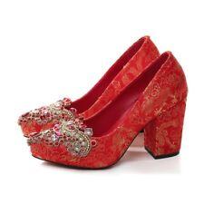 Red Wedding Bridal Pumps Shoes Rhinestones High Block Heels Platform Womens Shoe