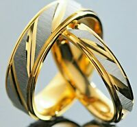 4mm 6mm Steel Silver Gold Plated Men Wedding Ring Women Flat Court Band J to Z