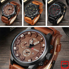 Fashion Curren Mens Date Stainless Steel Leather Analog Quartz Sport Wrist Watch