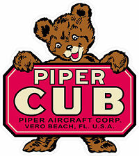 "#m132 6.5"" (1) Piper Cub Antique Vintage Historic Repro Decal Sticker LAMINATED"