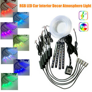 4M Car Interior LED RGB Light Strip Decor Atmosphere Light Bluetooth APP Control