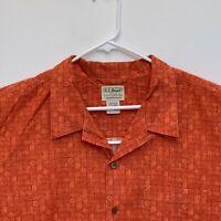 L.L.Bean Mens Hawaiian Shirt Brown 2XL Tall