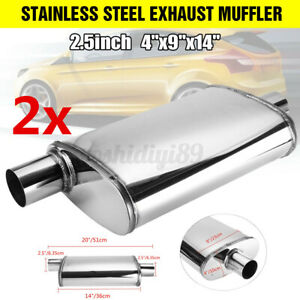 2pcs 2.5'' Inch 63mm Car Muffler Stainless Steel Exhaust Sports Center/offset