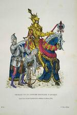 GRAVURE COULEURS PORTRAIT EQUESTRE CHARLES VII EN COSTUME MILITAIRE D'APPARAT