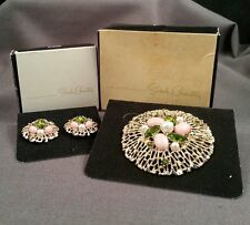 Vintage MIB Sarah Coventry Fashion Splendor Pearl Pink Green Gold Pin Earrings
