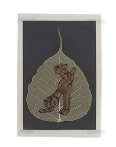 Carte peinture sur feuille de pipal kamasutra 100 % fait main K192