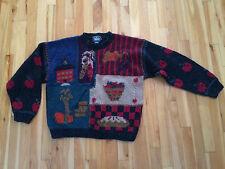 Womens Hand Knit WOOLRICH Sweater Sz LARGE 100% Wool - FALL, Apples, Pumpkins