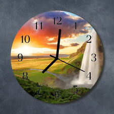 Glass Wall Clock Kitchen Clocks 30 cm round silent Waterfall Green