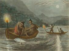 LAKE ONTARIO: Mississaugas Indians torchlight fishing (Edward Orme) , 1814