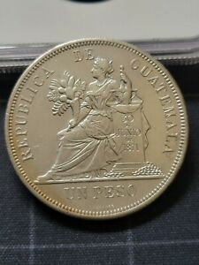 Guatemala 1894 H un Peso Silver Coin. + XF details, 1 peso