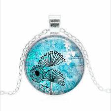 Dandelion Thistles Tibet silver Glass dome Necklace chain Pendant Wholesale