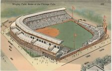 Wrigley Field, Home of Chicago Cubs linen postcard Chicago IL baseball stadium