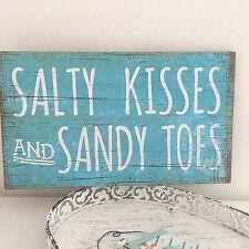 SALTY KISSES SANDY TOES COASTAL CHIC DRIFTWOOD WOODEN SIGN NAUTICAL BATHROOM