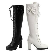 5 Colors Women Round Toe Block High Heel Mid Calf Knee High Boots Gothic 44/48 L