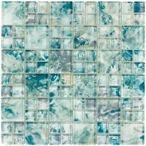 Modern French Pattern Turquoise Glossy Glass Mosaic Backsplash Tile MTO0112