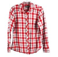 Eddie Bauer Flannel Plaid Shirt Top Red Size Medium Warm Cotton Womens
