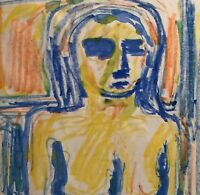 PINIAT 1925-2017 NEW YORK CITY ABSTRACT MODERNIST 1967 NUDE FIGURE  PAINTING