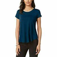Alfani Women's Petite Satin-Trim High-Low T-Shirt Green Size Petite