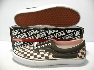 VANS ERA CLASSIC SLIP-ON CHECKERBOARD TRAINER MEN SHOES BROWN/PINK/ SIZE 9.5 NEW
