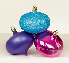 6 x JEWEL shatterproof Christmas Tree Baubles Decorations Pink Purple Turquoise