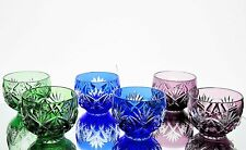 Bohemian German Stemless Cordials Shot Glass Cut to Clear Cased Crystal Set 6
