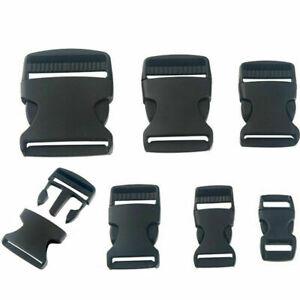 Black Plastic Side Release Clip Buckle Adjustable Webbing Bag Strap Clip Buckles