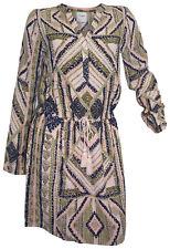 VERO MODA Kleid Ethno S 36 rosa blau khaki Web-Kleid Druck Minikleid neu