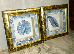 Modern Botanical Wall Art Decor Blue Gold Leaf Leaves Framed Pair 3D Box Hanging