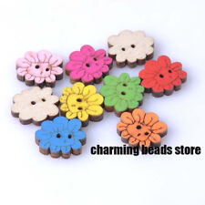 25pcs 2 Hole Sun Flower Wood Buttons Clothing Decor Sewing Scrapbooking 15mm