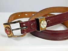 Vintage 1960s Brown Leather Cowboy Indians Pheasant Western Belt Rockabilly 26