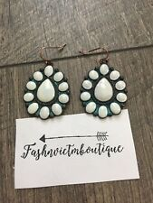 CONCHO EARRINGS Faux Ivory Southwestern With a Patina Tone