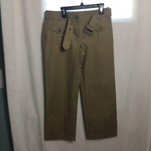 NWOT Ann Taylor Belted Capri Slacks Khaki Size 2 Wear To Work Dress Pants